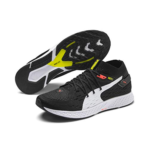 PUMA Speed 500, Zapatillas de Running para Hombre, Black White-Nrgy Red-Yellow Alert, 42.5 EU