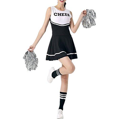 Cheerleader-Kostüm für Damen von Fadirew, Outfit für College, zum Verkleiden, Sport, Schule, Mädchen, Musical, Uniform für Party, Halloween, 6 Farben M schwarz