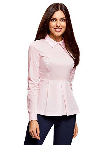 oodji Ultra Damen Baumwoll-Bluse mit Schößchen, Rosa, DE 40/EU 42/L (Baumwoll-bluse Rosa)