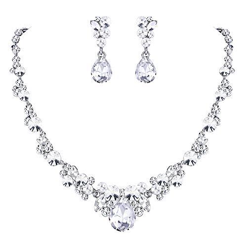 Ever Faith Damen Schmuckset österreichisch Kristall Braut Floral Tropfen Halskette Ohrringe Set