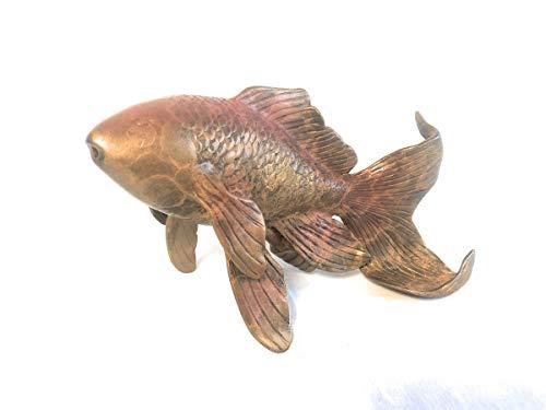 Thermobrass Bronzeskulptur Goldfisch mit Wasserspeier Gartendekoration Teichdekoration