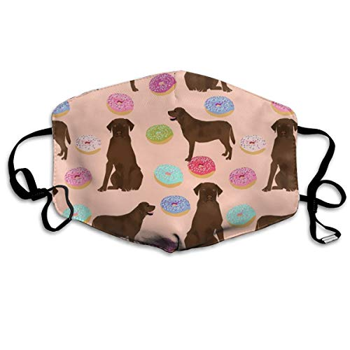 Chocolate Labrador Labrador Retriever Chocolate Lab Dog Cute Donuts Funny Dog Food Foods Novelty Dog Print Anti-dust Cotton Mouth Face Masks Reusable for Outdoor Half Face Masks