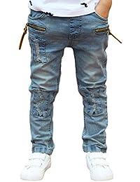 Pantalones Para NiñO Vaqueros Rectos NiñOs Con Detalle De Rotos PantalóN De CháNdal Con Cintura EláStica,(3-11) AñOs