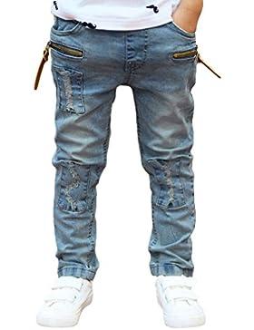 Pantalones Para NiñO Vaqueros Rectos NiñOs Con Detalle De Rotos PantalóN De CháNdal Con Cintura EláStica,(3-11...