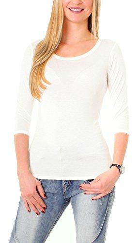 Damen 3-4 Arm Basic Rundhals Shirt Sleeve 3/4 Ärmel in vielen Farben T-Shirt Langarm einfarbig - Weiß M-38 (Arm T-shirt 3/4)