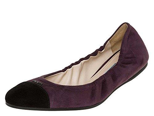 PRADA Femmes Ballerines Cuir velours Violet
