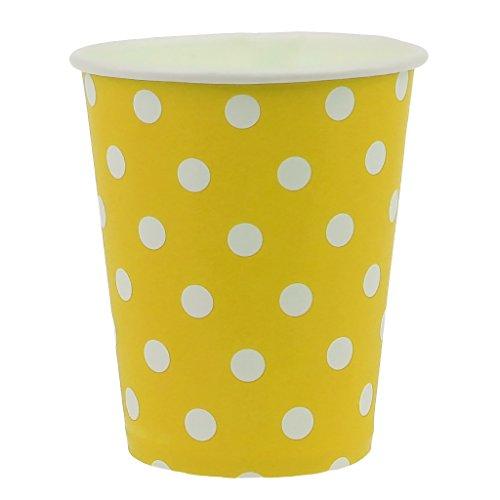 Kalttoy 10 x Becher 250ml Punkte Pappbecher, Einwegbecher für Getränke Heiß und Kaltgetränke, Schöne Pappbecher für Geburtstag Weihnachten Wochenend Party (Gelb) (Gelb Papier-snack-becher)