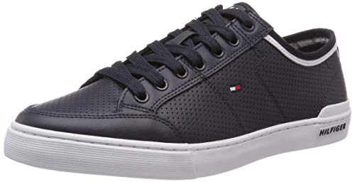 Tommy Hilfiger Herren Core Corporate Leather Sneaker, Blau (Midnight 403), 43 EU - Tommy Hilfiger Sportliche Sneakers