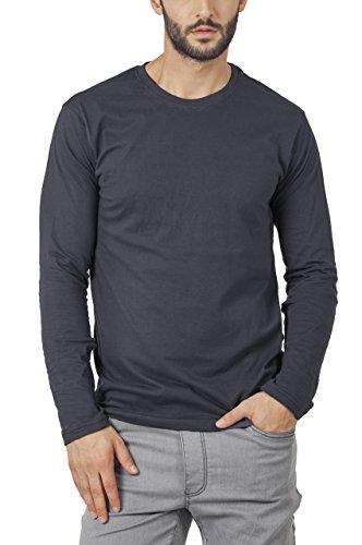 Bewakoof Stone Grey Plain Mens Round Neck Full Sleeve T-Shirts