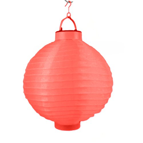 LED Lampion 6 Farben Ø 20 cm - Party- und Gartenlaterne - (Rot)