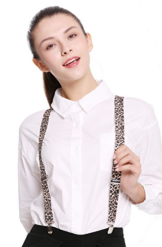 DRESS ME UP - BB-024-leopard Hosenträger Suspenders Karneval Halloween Leopard Raubkatze Muster
