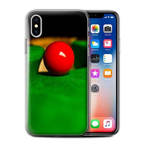 Stuff4 Gel TPU Hülle / Case für Apple iPhone X/10 / Blaue Kugel/Rack/Rosa Muster / Snooker Kollektion Blaue Kugel/Tasche