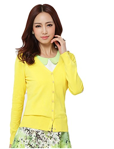 Strickjacke Damen Gelb (Damenstrickjacke, Cardigan, mit Knopfverschluss Gr. Medium, gelb)