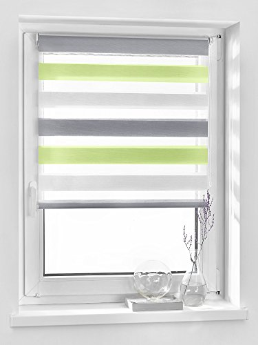 Vidella Doppelrollo zebra 3color Fenstermontage 39 cm, weiß / grün / grau, ZTC-3 39