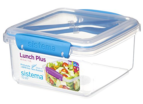 Sistema To Go Lunch Plus with Cutlery, 1.2 L - Assorted Colours