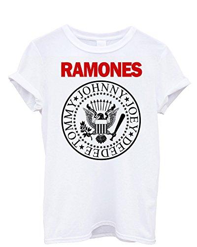 """T-shirt Uomo """"Ramones"""" - stampa bicolore Maglietta punk rock logo 100% cotone LaMAGLIERIA, S, Bianco"""