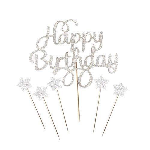 JINMURY 6 Stücke Happy Birthday Wenig Stars Funkeln Kuchen Cupcake Toppers für Kinder Baby Mädchen Geburtstag Party Kuchen Dekoration Lieferungen, Silber