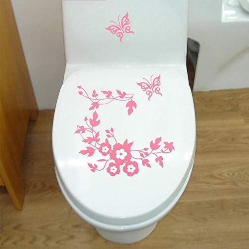 Qiyun idee matrimonio,decorazioni per interni,adesivo fai da te farfalla rimovibile fiore vine decalcomania bagno wc adesivo decorativo rosa