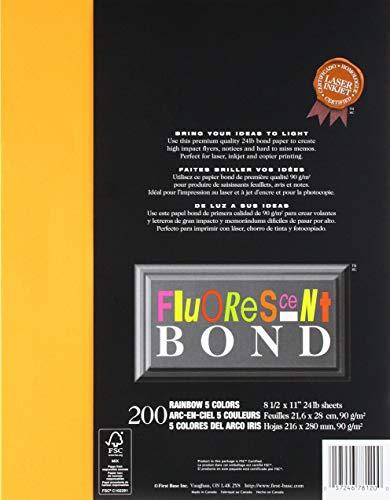 St. James fluoreszierend Bond Rainbow I, 5Farben, 200Stück sheets-orange, smaragd grün, fuchsia, lila, gelb