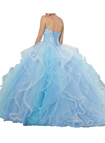 Promgirl House Damen Romantisch Lang Tuell Prinzessin Brautkleid Brautjungkleid Ballkleider Cocktail Lang Hellblau
