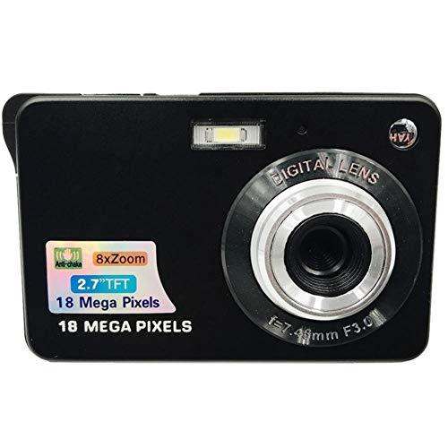 "Eachbid Mini Digital Camera 18MP 2.7"" TFT 8X Zoom 1280 X 720 HD Anti-Shake Digital Video Camera+ Extra Battery + USB Cable+Camera Pouch+ Wrist Strap+User Manual,Black"