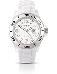 Sekonda Unisex Quartz Watch with White Dial Analogue Display and Rubber Strap 3362.27