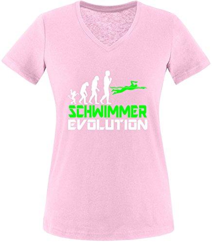 EZYshirt® Schwimmer Evolution Damen V-Neck T-Shirt Rosa/Weiss/Neongr