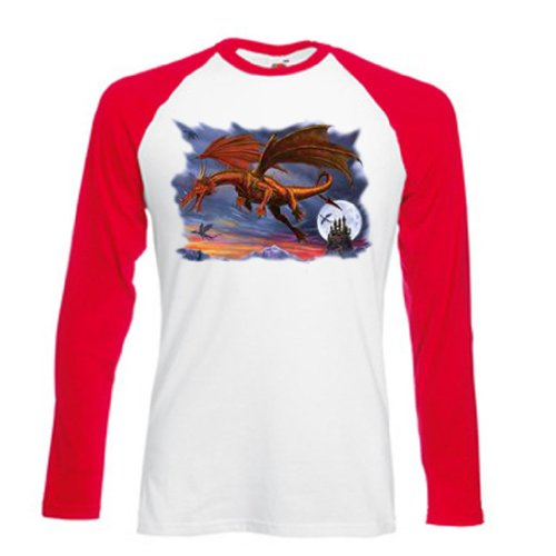 Dragon Gerippte T-shirt (Einfach Tees Dragon Moon Erwachsene Long Sleeve Baseball T-Shirt Gr. XXL, Weiß/Rot)