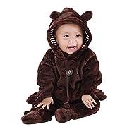Baywell Baby Overall, Langram Reißverschluss Cartoon Tiermuster Niedlich Hoodie Baby Strampler Onesie (Braun, XL/9-12 Monate)