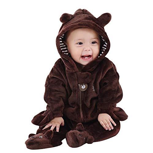 Baywell Baby Overall, Langram Reißverschluss Cartoon Tiermuster Niedlich Hoodie Baby Strampler Onesie (Braun, S/0-3 Monate) Monat Onesies