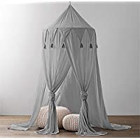 Tyhbelle Spitze Baldachin Moskitonetz Betthimmel aus Spitze & Baumwolle für Schlafzimmer Ankleidezimmer Spiel Lesen Zeit Höhe 240 cm Saumlänge 270cm
