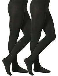 2 Paia Collant donna termico nero con interno in pile