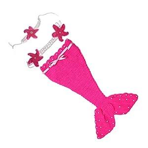 Toyvian 1 Satz Schöne Neugeborene Meerjungfrau Fotografie Requisiten Baby Kostüm Infant Baby Stricken Häkeln Pullover Cosplay Schwanz Anzüge (Rosy)