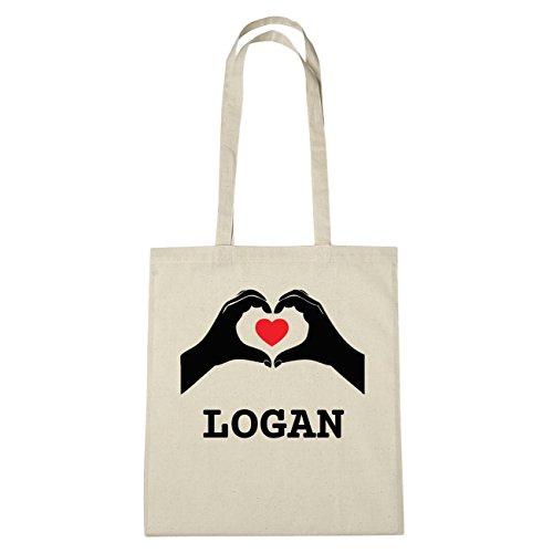 JOllify Logan di cotone felpato b5651 schwarz: New York, London, Paris, Tokyo natur: Hände Herz
