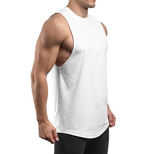 Sixlab Round Cut Off Tank Top Herren Muskelshirt Gym Fitness (M, Weiß)