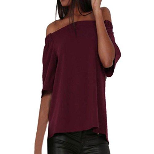 Femmes Chemisier, OverDose Sexy Tops IrréGulier Off The Shoulder DéContractéE Court Manche T-Shirt Tops Divisé Chemisier Wine