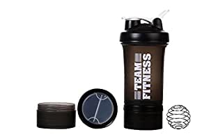 Ishake Easy Stack Plastic Shaker Bottle, 500 ml (Black)