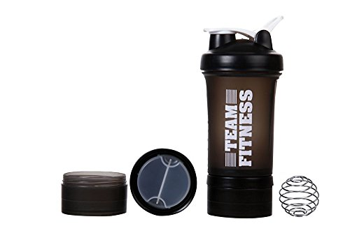 Ishake Easy Stack Shaker Bottle 500 ml , (Black Body, White Lid)  available at amazon for Rs.244