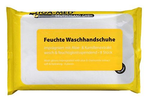 Waschhandschuhe Feucht Einmal Einweg 24 Pack = 192 Stück Waschhandschuh mit Aloe Vera imprägnierte -