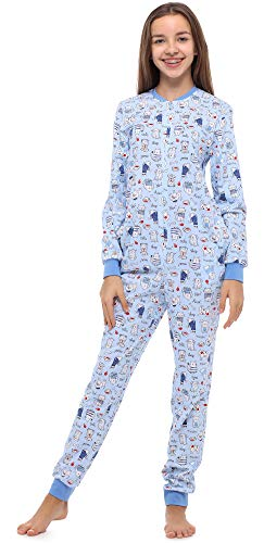 Merry Style Mädchen Jugend Schlafanzug Strampelanzug Schlafoverall(Blau/Hund/Katze, 164)