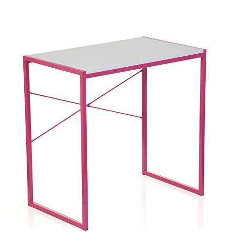 hjh OFFICE 634742 Schreibtisch EASY UP Pink / Weiß Home-Office Computertisch klein