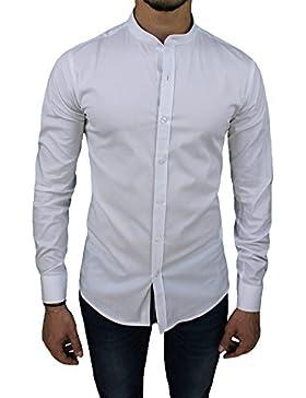 Camicia uomo cotone slim fit bianco casual elegante con colletto coreana