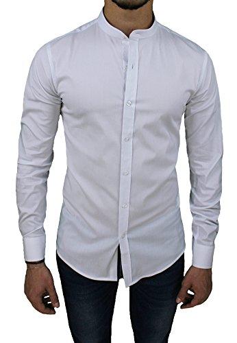 Camicia uomo cotone slim fit bianco casual elegante con colletto coreana (s)
