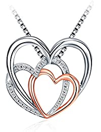 J.Rosée Collar Mujer, Plata de Ley 925 Brillante Circonita [Familia, Amor, Éxito] Collar Corazón Cadena con Hermosa Caja Regalo