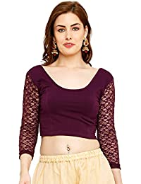 58fb3cc897d64 Salwar Studio Cotton Lycra Purple Stretchable Readymade Saree Blouse for  Women