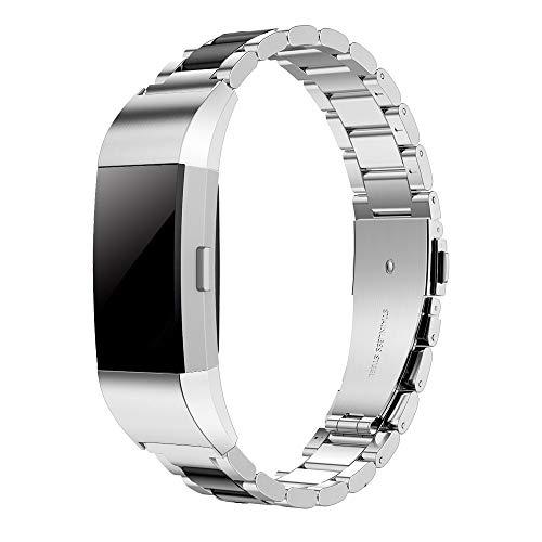 Simpeak für Fitbit Charge 2 Armbänder, Edelstahl Metall Ersatz Uhrenarmband Band Straps für Fitbit Charge 2, Silber schwarz (Metall-armband)