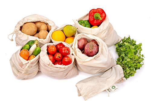 Wiederverwendbare Produce Taschen - Baumwollbeutel-Set von 7 (1 Stück XXL, L, M, S, XS und 2 Stück XL) Wiederverwendbare Musselin Tasche für Go Green, Null Abfall, Maschinenwäsche, geringes Gewicht, Nettogewicht, Gemüse Tasche