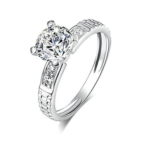 Aienid Ring Silber Breit Damen Anpassbare Ring Halo Runden Zirkonia Memoir Size:54 (17.2) - Halo Diamant Und Aquamarin Ring