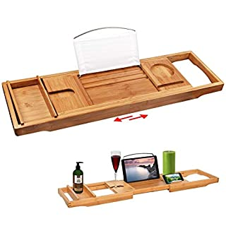 Annstory Bamboo Bathtub Caddy Tray, Bath Table Adjustable Caddy Tray with Extending Sides, Cellphone Tray and Wineglass Holder