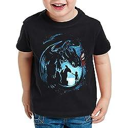 style3 Night Dragon Camiseta para Niños T-Shirt Vikingo Medieval, Talla:104